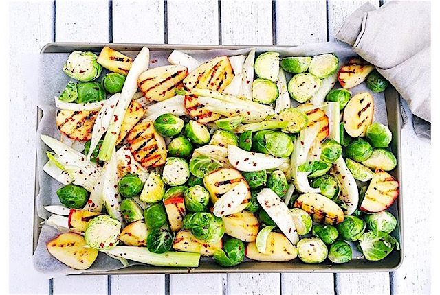 Roasted Brussel Spouts, Apple and Fennel